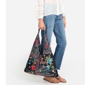 Johnny Was Black Floral Gensia Hobo Bag NWT